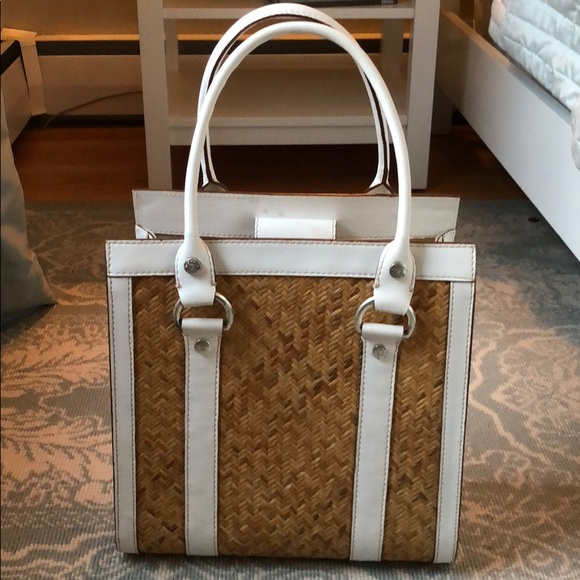 3e492d9497a8 Michael Kors wicker and white leather tote. M_5a64fed31dffdaa5b0a80248